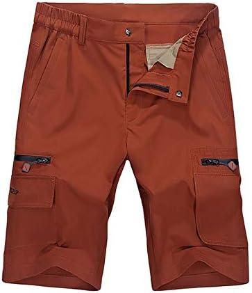 OCHENTA Men's Expandable Waist Lightweight Quick Dry Cargo Shorts Orange 34