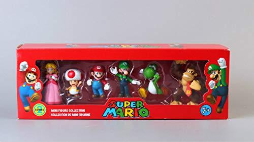 Super Mario Juguetes 6pcs/Lote Super Mario Bros Peach Toad Mario Yoshi Donkey Kong PVC Figura De Acción Juguetes Muñecas 6pcs/Set Nuevo En Caja