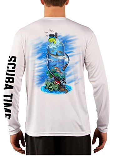 GAMEFISH USA UPF 50 Long Sleeve Microfiber Moisture Wicking Performance Fishing Shirt Scuba Diving Tank Large White