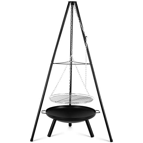 Photo of Femor BBQ Fire Pit with Height-Adjustable Swivel Hanging Grill, Metal Fire Brazier φ54.5cm, Tripod 152cm and Adjustable Chain, Fire Bowl for 8-9 People, for Garden, Party, Back Yard, Camping