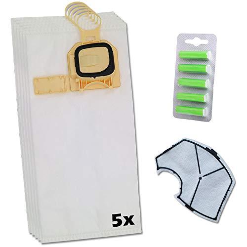 Juego de 5 bolsas de aspiradora prémium de microfieltro + filtro protector del motor + 5 ambientadores para Vorwerk Kobold VK 140, VK 150, VK 140-150, VK140/150, VK140 - VK150