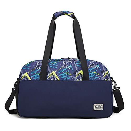 HHH Sac de Voyage Sac de Sport en Toile Imperméable et Durable Carry on Satchel Duffle Bag Multifonctionnel avec Tapis D'entraînement et Accessoires de Yoga Travel Bag & Duffel Bag,Blue