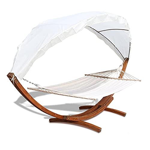 VINGO Hängematte mit Gestell und Sonnendach, Hammock aus wetterfestem Lärchenholz, bis 200kg, Stabhängematte für 2 Personen Outdoor und Indoor