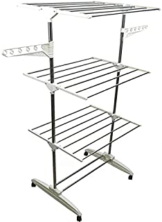 Stainless Steel Garment Drying Rack with Rollers, Portable Folding Laundry Hanger Stand