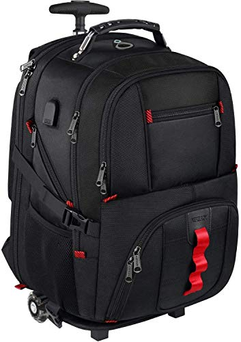 YOREPEK Backpack with Wheels, Trolley Backpack Travel Rolling Backpack 17 Laptop for Women Men Adults,Wheeled Rucksack Large for Business College School, Gifts for Men Women Boyfriend Girlfriend,Black