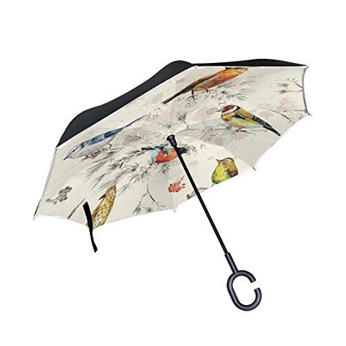 Ahomy Zweige Blumen Vogel Muster groß Winddicht umgekehrt klappbar doppellagig Inverted Regenschirm mit C-förmigen Griff für Damen und Herren