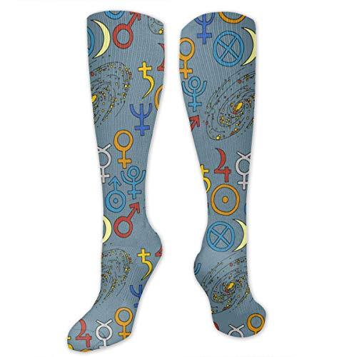 CVDGSAD Knee Hohe Socken Trendy Mystic Magic Esoteric Knee High Compression Stockings Sportliche Socken Personalized Gift Socks Men Women Teens Girls