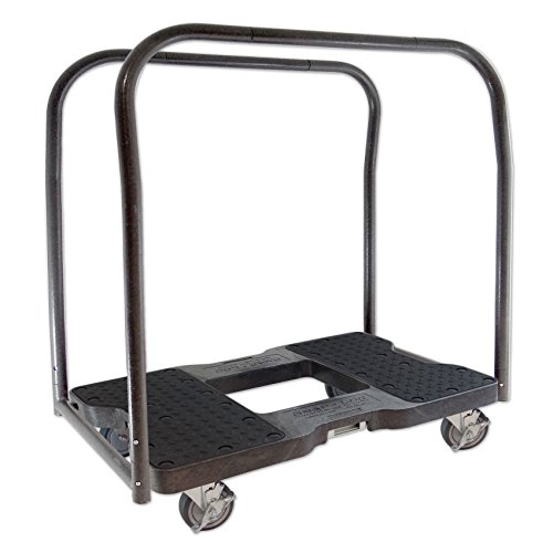 SNAP-LOC 1500 LB Panel CART Dolly Black with Steel Frame, 4 inch Casters, Panel Bars and Optional E-Strap Attachment