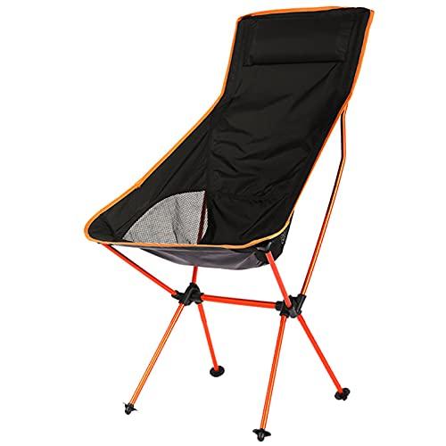 Silla De Camping Portátil, Ultraligera Y Plegable, Asiento Al Aire Libre con Bolso, Adecuada para Picnic, Senderismo, Camping Y Pesca (Naranja)