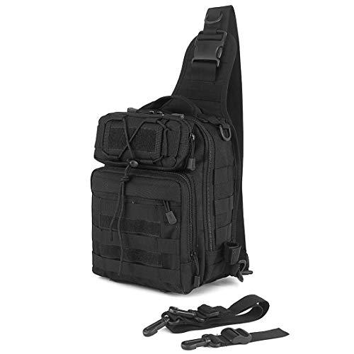 Selighting Militär Sling Rucksack Crossbody Bag Molle Brusttasche Taktisch Umhängetasche für Trekking Camping Wandern Reisen (Schwarz)