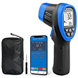 Thermomètre Infrarouge, Appareil de Mesure de Température Laser Numérique INFURIDER YF-985CAPP -58 ℉ ~ 1472 ℉ Pyromètre IR à Lecture Instantanée 16: 1 avec Bluetooth pour Four à Pizza HVAC et Four