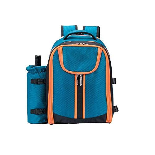 KAUFBUYBUY Blauer Campingrucksack Picknicktasche Zweifarbiges Oxford-Stoffmaterial Picknickset For Vier Personen Isolationstasche Grilltasche Picknicktasche Freizeittasche Größe 42CM * 30CM * 19CM Gro