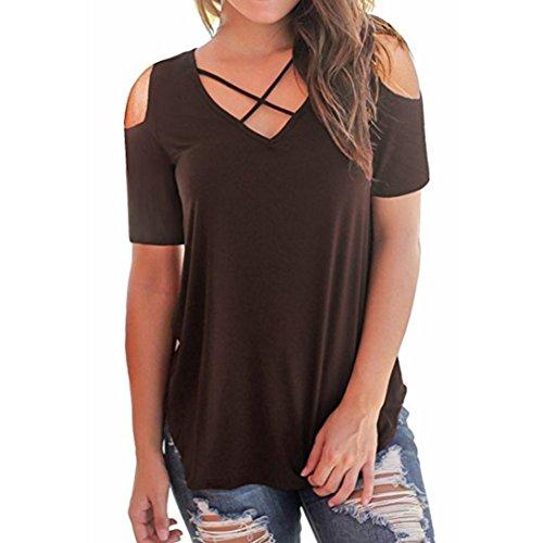 ESAILQ Damen T-Shirt Ladies Extended Shoulder Tee, Baumwollshirt mit Turn-up Ärmeln(L,Kaffee)