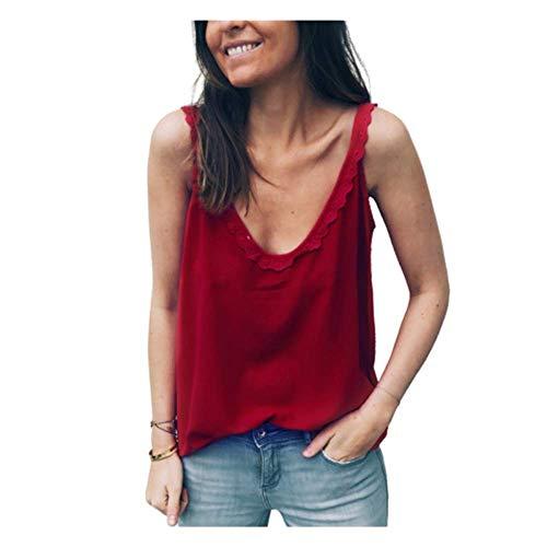 Camisa de verano para mujer, camiseta de manga corta con ribete de encaje puro y parte superior para mujer. Se puede llevar en la parte delantera y trasera. rojo M
