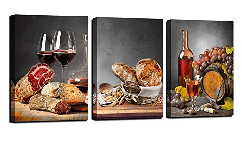 Anolyfi Red Wine Canvas Wall Art Bread Painting Vintage Grapes Gray Wine Barrel Artwork Pictures Framed for Kitchen Bar Dinning Room Coffee Room Home Wall Decor, 12'x16'x3 Pieces