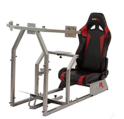 GTR Simulator GTAF-S-S105LBKRD - GTA-F Model (Silver) Triple or Single Monitor Stand with Black/Red Adjustable Leatherette Seat, Racing Simulator Cockpit Gaming Chair Single Monitor Stand