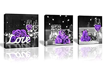 Purple Rose Flower Pictures Wall Art for Kitchen Wine Glass Candle Flower Love Wall Decor Canvas Prints Bedroom Home Artwork for Living Room 3 Pieces/Set Size  14x14inch