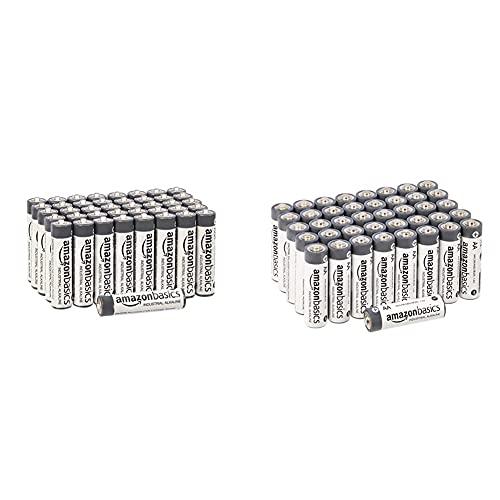 Amazon Basics Batterie industriali alcaline AA confezione da 40 + Amazon Basics AAA Industrial Alkaline Batteries (Pack of 40)