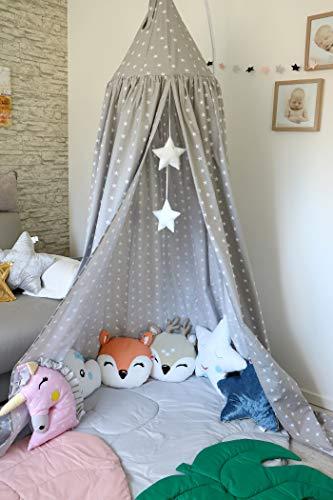 Babymajawelt® Betthimmel 2in1 Baldachin Grau XXL Stars (Sterne) - Kinderzimmer Zelt zum Aufhängen, Kinderzelt, Babybett Himmel, Versteck, Moskitonetz, Spielecke (Stars grau)