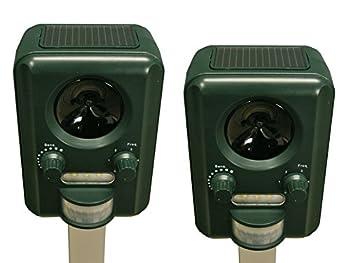 Selections Lot de 2 Appareil Répulsif Chats à Ultrasons Fonctionnement avec Chargeur Solaire pour Les Batteries (Piles Incluses)
