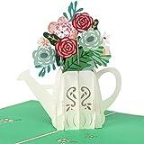 PaperCrush® Pop-Up Karte Blumen in Gießkanne [NEU!] - 3D Blumenkarte für Freundin, Frau, Mutter oder Oma (Geburtstagskarte, Runder Geburtstag) - Handgemachte Glückwunschkarte mit Pop Up Blumenstrauß