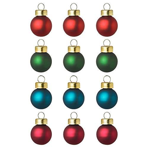 IKEA Vinter Mini Dekokugeln Christbaumkugeln 12 Stück Glas 4 Farben (rot-grün-blau)