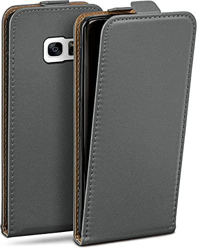 MoEx Flip Cover con Chiusura Magnetica Compatibile con Samsung Galaxy S7 | Finta Pelle, Grigio Scuro