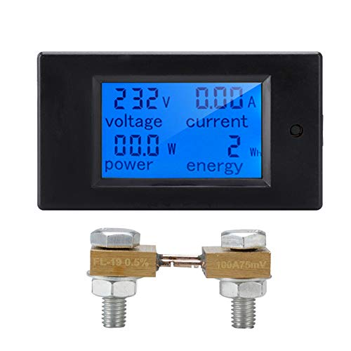 Fesjoy Medidor de Potencia de Voltaje CC Galvanómetro Medidor de Electricidad Detector de Potencia Coulómetro Medidor de Pantalla Digital Multifuncional