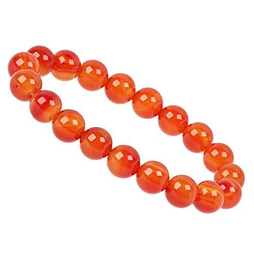 ELEDORO PowerBead - Pulsera elástica de perlas de piedras preciosas, 10 mm, cornalina de grado AAA