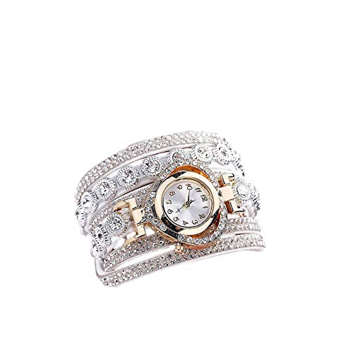 Yahunosu Forma de Las Mujeres Reloj analógico de Cuarzo Reloj con Rhinestone Brazalete del Brazalete de multicapas Extra Fino Reloj de Cristal adornó el Reloj del Reloj del corazón Informal