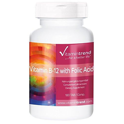 Vitamin B12 mit Folsäure vegan - 180 Tabletten für 6 Monate – Vegan, hochdosiert und made in Germany