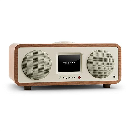 NUMAN One 2.1 - Design Web radio, Internet Radio, Sintonizzatore DAB/DAB+ e Ricettore OUC, RDS, Interfaccia Wi-Fi/LAN, 20W RMS, Display a Colori, Spotify, Bluetooth, Dual-Alarm, Noce