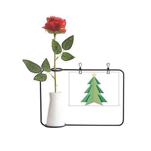 Beauty Gift Abstracto Árbol de Navidad Origami Patrón Artificial Rosa Flor Colgante Floreros Decoración Botella
