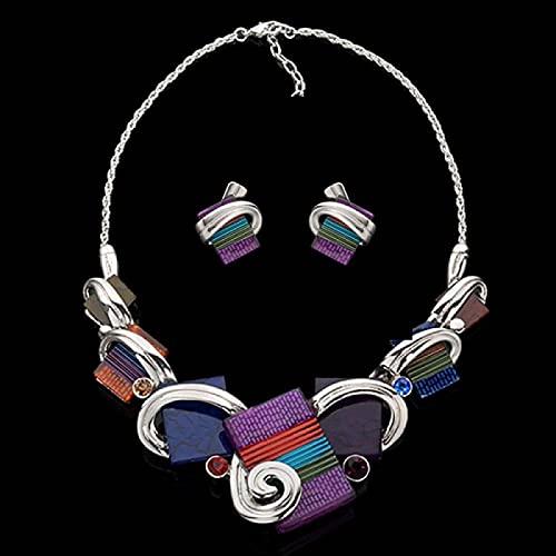 YZYZ Conjunto De Collar Europeo Y Americano, Gema Geométrica Cuadrada, Cadena De Clavícula Corta De Diamante, Cena Femenina, Accesorios para Fiesta De Vino