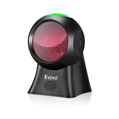 Eyoyo 自動バーコードスキャナー 1D 全方向ハンズフリー USB有線バーコードリーダー POS スーパーマーケット 図書館 小売店 倉庫 書店用