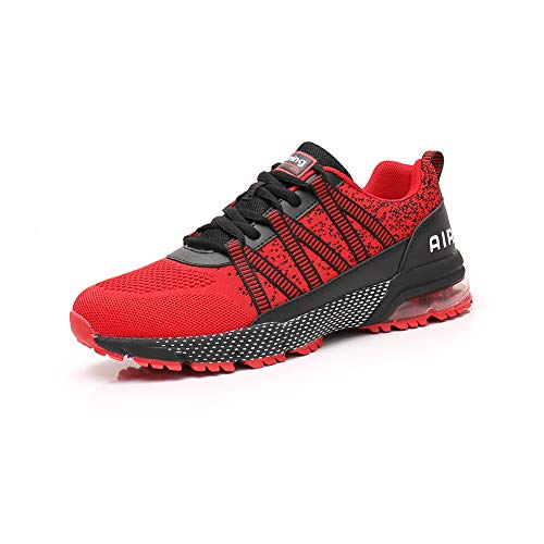 Zapatillas Running Hombre Mujer Zapatos Deporte para Correr Trail Fitness Sneakers Ligero Transpirable red36