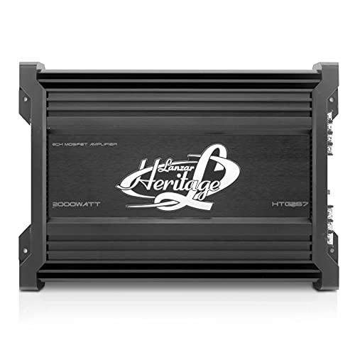 Lanzar Amplifier Car Audio, 2,000 Watt, 2 Channel, 2 Ohm, Bridgeable 4 Ohm, MOSFET, RCA Input, Bass Boost, Mobile Audio, Amplifier for Car Speakers, Car Electronics, Crossover Network (HTG257)