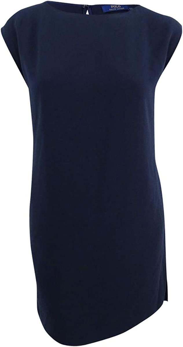 Polo Ralph Lauren Women's Crepe Cap-Sleeve Dress (12, Navy)
