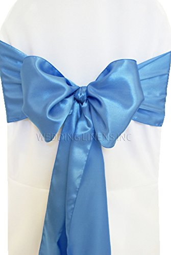 Wedding Linens Inc. (10 PCS) 7.5' x 108' Satin Chair Sashes Bow Sash Chair Bows Ties for Wedding Decoration Party Banquet Events - Periwinkle