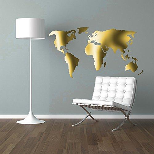 MacDecal.de Weltkarte Worldmap Wandtattoo Wandaufkleber Sticker Aufkleber Wand (38 x 60 cm, Gold Matt)