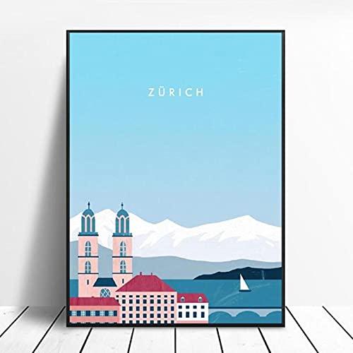 Kemeinuo Cuadros Modernos Cartel de Viaje de Lona de Zurich Impresiones artísticas de Pared para el hogar decoración de Sala de Estar Minimalista Moderna para Pared 60x90cm