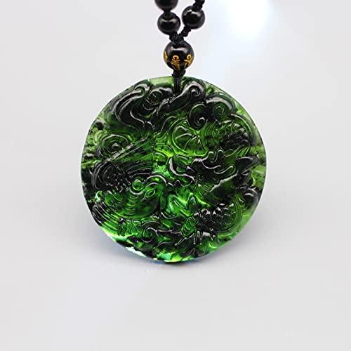 JIUXIAO Collar con Colgante de Fénix de dragón de Jade Verde y Negro Natural, joyería de Amuleto Tallado Chino, Amuleto de Moda para Hombres y Mujeres, Regalos
