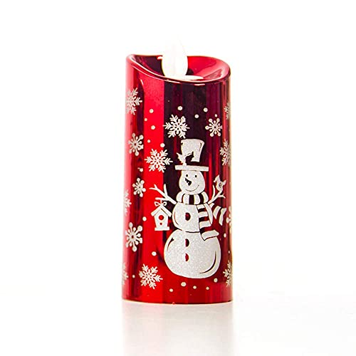 Muñeco de nieve, luz de vela de Navidad, luz LED, decoración de escritorio LED, decoración de mesa de fiesta de Papá Noel, lámpara de vela, lámpara de mesa, decoración de Navidad (rojo grande)