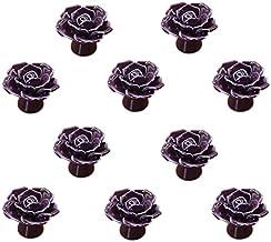 Rose bloem keramische deurklink AOOF dressoir keukenkast lade handvat 10 stuks, wit (paars)