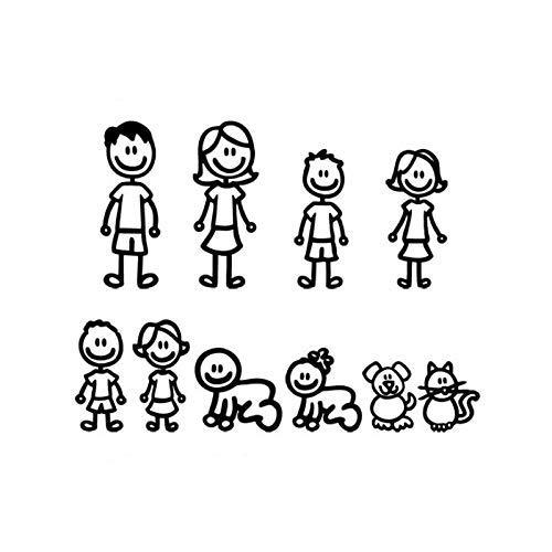 Jingmeichetie - Pegatinas para coche (38,3 x 29,5 cm), diseño de dibujos animados de una familia grande para coche, accesorios decorativos para coche, color negro y plateado