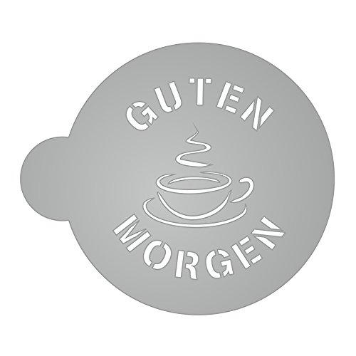 Schablone - Guten Morgen & Kaffeetasse - für Kaffee, Kakao, Milchschaum, kochen, backen, dekorieren - 2mm transparentes Acryl, sehr stabil, sehr langlebig - Größe K