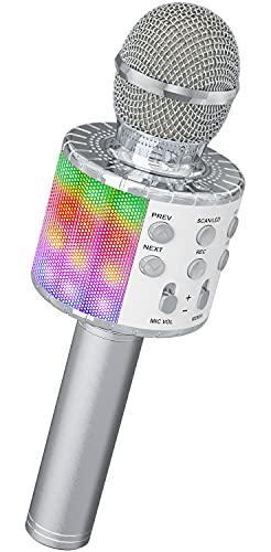 Ankuka Microphone sans Fil Karaoké, Microphone Bluetooth 4 en 1 Portable Lecteur Karaoké avec Lumières LED de Danse, pour Fête Chanter Idée Cadeau Enfants (Argent)