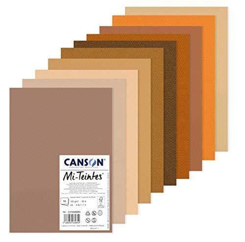 Canson Mi-Teintes 60% Abeja 160g Pack A4 10H Tonos Tierra