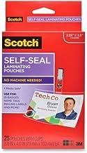 3M Scotch LS852G Self-Sealing Laminating Pouches w/Clip, 12.5 mil, 2 15/16 x 4 1/16, 25/Pack