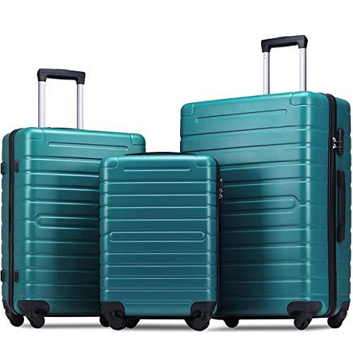 Flieks Luggage Sets 3 Piece Spinner Suitcase Lightweight 20 24 28 inch (Aqua Green)